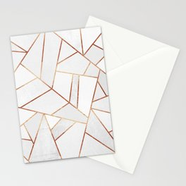 White Stone & Copper Lines Stationery Cards