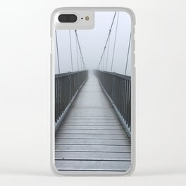 The Swinging Bridge in Fog on a Mountain Clear iPhone Case