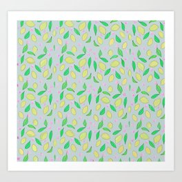 Lemons on grey Art Print