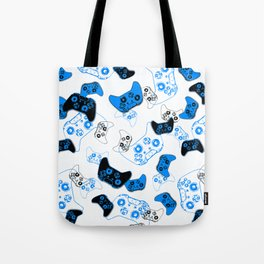 Video Game White and Blue Tote Bag