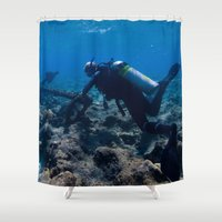 scuba Shower Curtains featuring Scuba Diving Excavation by BravuraMedia