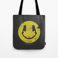 paramore Tote Bags featuring Music Smile by Sitchko Igor