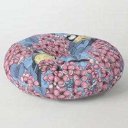 Tit birds in the lilac garden 2   Floor Pillow