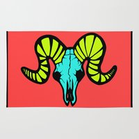 ram Area & Throw Rugs featuring Ram Rose by Don't Blink Art