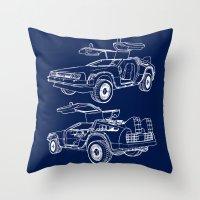 delorean Throw Pillows featuring Delorean Time Machine by Paul Elder
