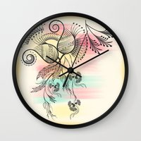 decorative Wall Clocks featuring Decorative Floral by famenxt