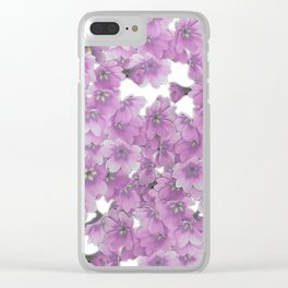 Pink Flowers on White Clear iPhone Case
