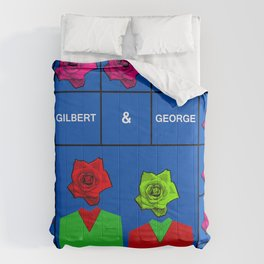 Portrait of Gilbert and George, illustration, pop culture Comforters