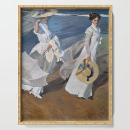 Joaquin Sorolla Y Bastida - Strolling along the seashore Serving Tray