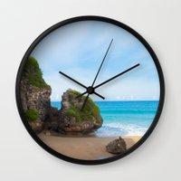 puerto rico Wall Clocks featuring Quebradillas, Puerto Rico by Silmagerie