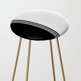 Greek Key 2 - White and Black Counter Stool