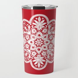 Floral Doily Pattern | Red and White Travel Mug
