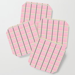 Brigitte B - Stripes yellow on pink background Coaster