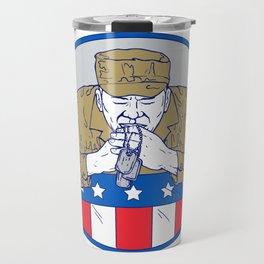 American Soldier Praying Drawing Color Travel Mug