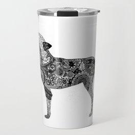 Henna-Inspired Wolf Travel Mug