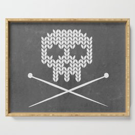 Knitted Skull (White on Grey) Serving Tray