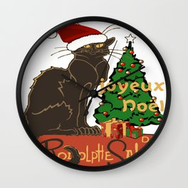 Joyeux Noel Le Chat Noir With Tree And Gifts Wall Clock
