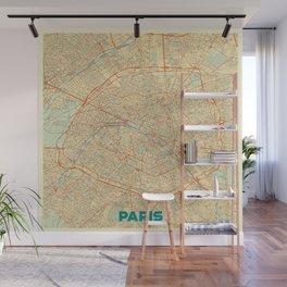 Paris Map Retro Wall Mural