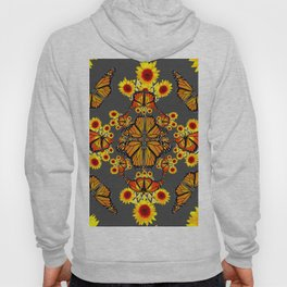 GREY COLOR SUNFLOWERS & MONARCH BUTTERFLY ABSTRACT Hoody