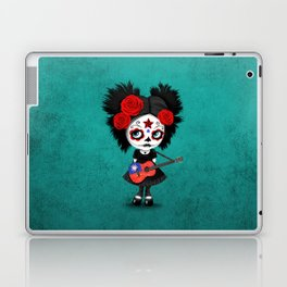 Day of the Dead Girl Playing Taiwanese Flag Guitar Laptop & iPad Skin