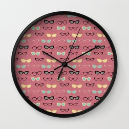 1950's Specs in Pink Flamingo Wall Clock