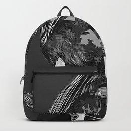 budgie hangs upside down on the branch vector art black white Backpack