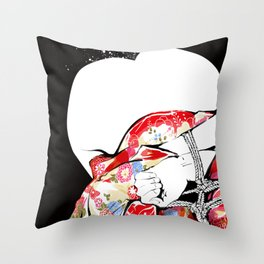 Woman wears a traditional kimono, Body tied by rope, Shibari, Japanese BDSM art, Fashion illusration Throw Pillow