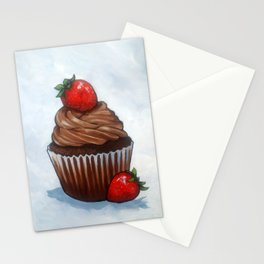 Chocolate Cupcake With Strawberries, Realism Art Stationery Cards