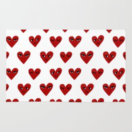 Heart love valentines day gifts hearts with faces cute valentine Rug