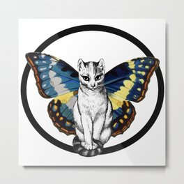 Butterfly Cat Metal Print
