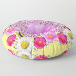 Floral Abundance yellow color fuchsia Shasta Daisy Pink Roses Abstract Ar Floor Pillow