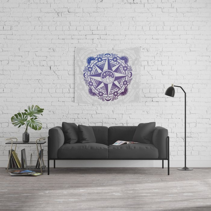 Journey to Moon Mountain | Ultra Violet Ombré Wall Tapestry