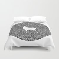 alisa burke Duvet Covers featuring Deer Mandala 2 black-white by Anna Grunduls
