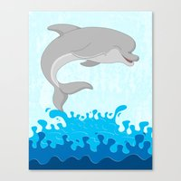 dolphin Canvas Prints featuring Dolphin by Finlay McNevin