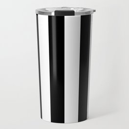 Black & White Vertical Stripes - Mix & Match with Simplicity of Life Travel Mug