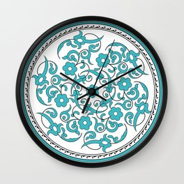 Round Green Floral Tile Art Wall Clock