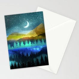 Silent Forest Night Stationery Cards