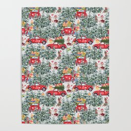 Dachshund decorates the christmas tree Poster