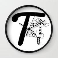 "tigger Wall Clocks featuring ""Winnie the Pooh"" | Tigger Initial by Sabrina"