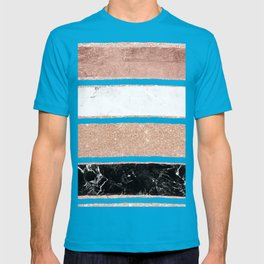 Faux rose gold glitter modern marble stripes pattern T-shirt
