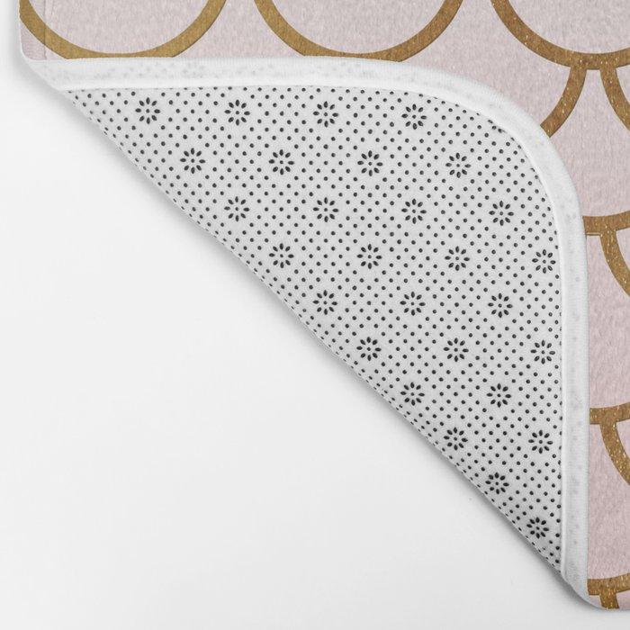 Pink Gradient and Gold Foil MermaidScales - Mermaid Scales Bath Mat