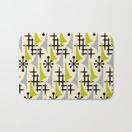 Mid Century Modern Atomic Wing Composition Green & Grey Bath Mat