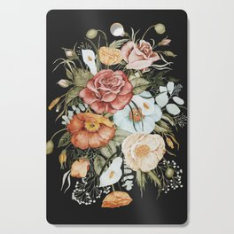 Roses and Poppies Bouquet on Charcoal Black Cutting Board