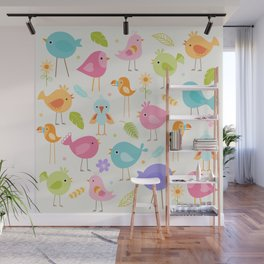 Birds - Off White Wall Mural