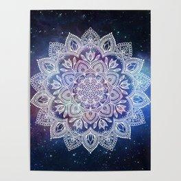 Boho Mandala - White on Galaxy Poster