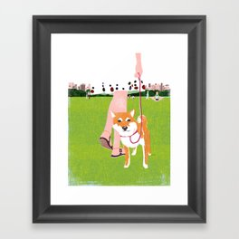 Shiba inu in Central Park Framed Art Print