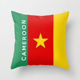 Cameroon country flag name text Throw Pillow