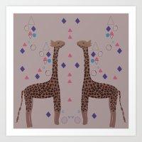 giraffes Art Prints featuring Giraffes by Louise Elizabeth