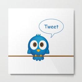 Blue bird tweeting cartoon Metal Print