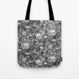 BITE ME roses and orchids BLACK WHITE Tote Bag